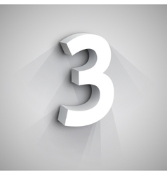 3d Number Three vector image