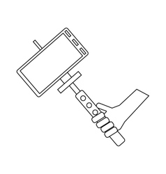 Selfie stick and phone icon outline style vector