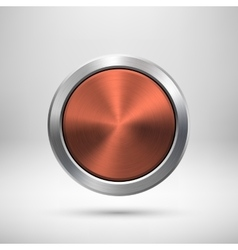 Bronze technology circle metal badge vector