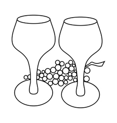 Wine glass and grape icon outline style vector