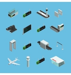 Airport isometric icons set vector