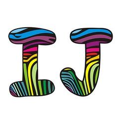 Background skin zebra shaped letter IJ vector image vector image