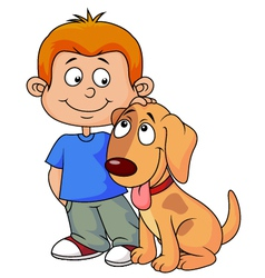 Boy and puppy cartoon vector