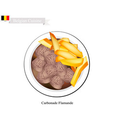Carbonade flamande or belgian stewed meat with oni vector