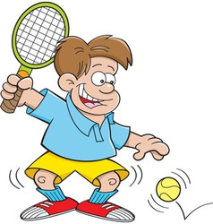 Caroon boy playing tennis vector image vector image