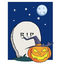 Cartoon r i p gravestone pumpkin vector