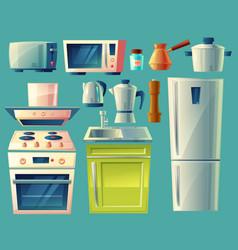 Cartoon set of kitchen appliances vector