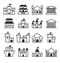 castle palace icon set 2 vector image vector image