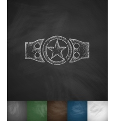 Championship belt icon hand drawn vector
