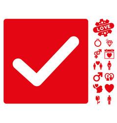 check icon with valentine bonus vector image vector image