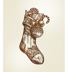 Christmas sock with presents vintage vector