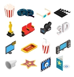 Cinema isometric 3d icons set vector image