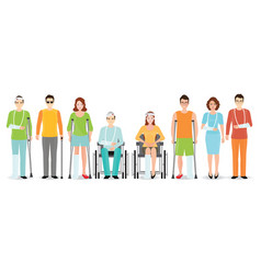 disabled people banner isolated on white vector image vector image