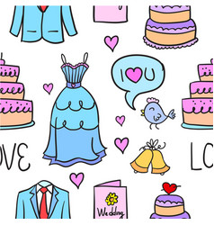 Doodle of wedding collection design vector