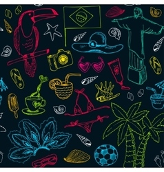 Hand drawn doodle Brazil seamless pattern vector image vector image
