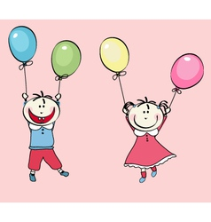 happy little boy girl flying with the balloons vector image vector image
