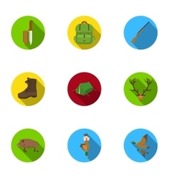 Hunting set icons in flat style big collection of vector