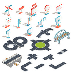 isometric icons of billboards advertising vector image