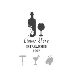 Liquor - alcohol store or bar logo template vector