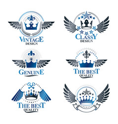 majestic crowns emblems set heraldic coat of arms vector image vector image
