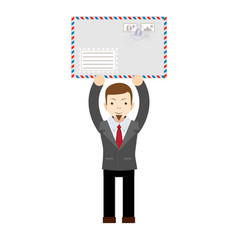 man holding an envelope with a letter vector image vector image