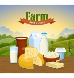 Milk natural farm concept vector