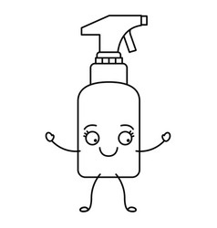 monochrome cartoon silhouette of spray cleaner vector image