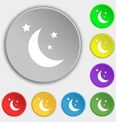 moon icon sign Symbol on eight flat buttons vector image vector image