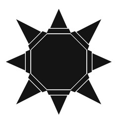 origami sun icon simple black style vector image