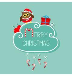 Owl in santa hat giftbox snowflake ball merry vector