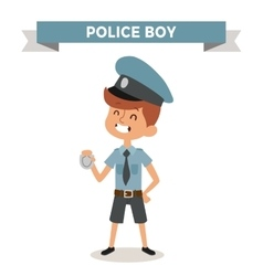 Police boy with sign isolated on white vector