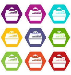 portable cage for pets icon set color hexahedron vector image