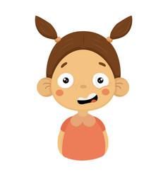 Puzzled little girl flat cartoon portrait emoji vector