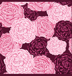 Seamless pattern of pink and burgundy flowers with vector