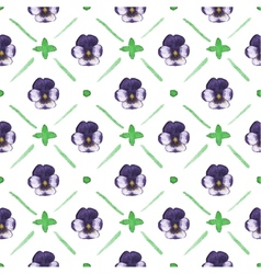 Seamless watercolor pattern with pansies on the vector image