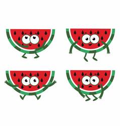 set cartoon watermelon vector image