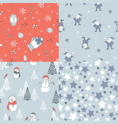 Set of new year seamless patterns vector