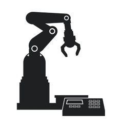 Silhouette robotic production line mechanic vector