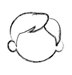 Sketch little boy face kid male vector