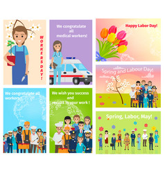 Spring holiday labour day in may for all workers vector