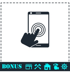 Touch screen icon flat vector