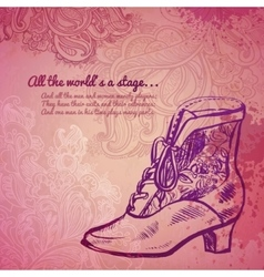 Vintage girl boot fashion banner vector