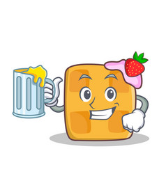 Waffle character cartoon design with juice vector