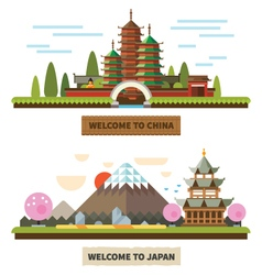Welcome to Japan and China vector image vector image