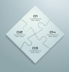 White Jigsaw Puzzle Infographics Design vector image