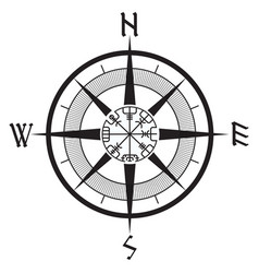 Wind rose navigation runic compass vegvisir vector