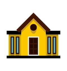 Yellow cottage with narrow windows icon flat style vector