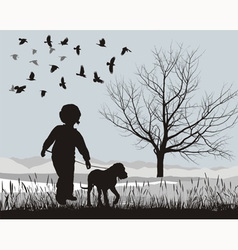 Puppy and boy in the winter vector