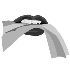 Black and white sexy lips vector image