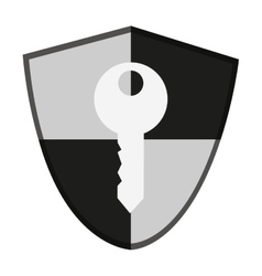 Isolated key inside shield design vector